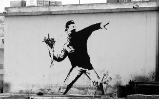 banksy, banksy flower thrower, art, street art, nyc, graffiti, the4519